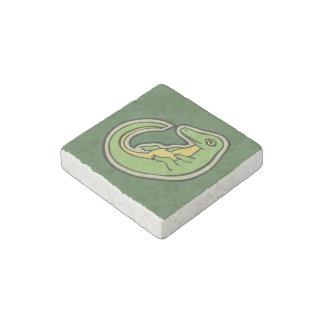 Diseño verde y amarillo lindo del dibujo del imán de piedra