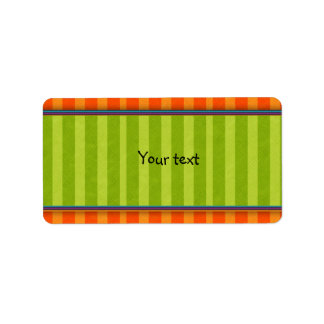 Diseño verde y anaranjado de las rayas etiqueta de dirección