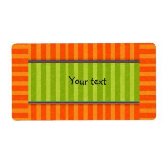 Diseño verde y anaranjado de las rayas etiquetas de envío