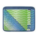 Diseño verde y azul de las rayas del wavey funda para macbook air