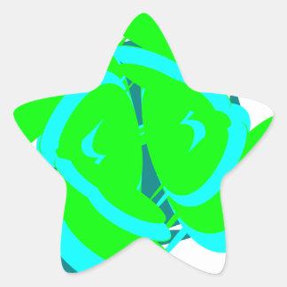 Diseño verde y azul del arte de la forma del pegatina en forma de estrella