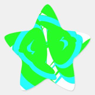 Diseño verde y azul espiral del arte del fractal pegatina en forma de estrella