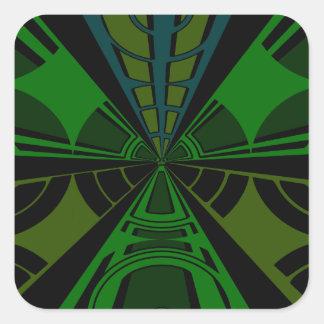 Diseño verde y negro del rectángulo calcomanías cuadradass