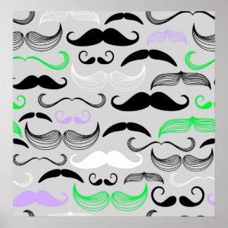 Diseño verde y púrpura del bigote poster