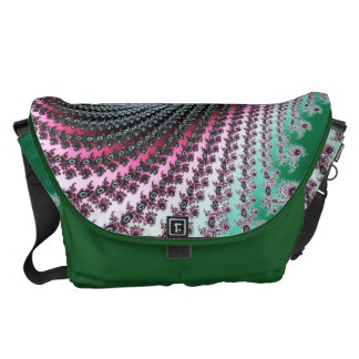 Diseño verde y rosado del huracán doble - del frac bolsa messenger