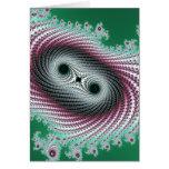 Diseño verde y rosado del huracán doble - del frac tarjeta