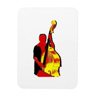 Diseño vertical de la imagen del bajista rojo y am imán rectangular