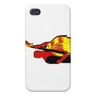 Diseño vertical de la imagen del bajista rojo y am iPhone 4/4S fundas