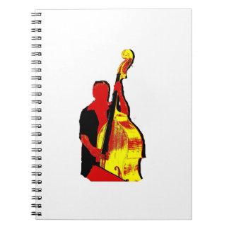 Diseño vertical de la imagen del bajista rojo y am libros de apuntes
