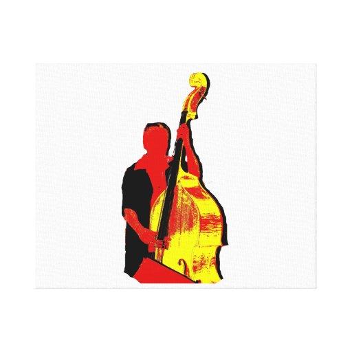 Diseño vertical de la imagen del bajista rojo y am impresion en lona