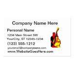 Diseño vertical de la imagen del bajista rojo y am tarjeta de negocio