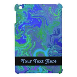 Diseño veteado azul con el texto de encargo