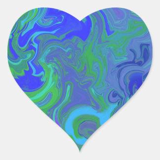 Diseño veteado azul pegatina en forma de corazón