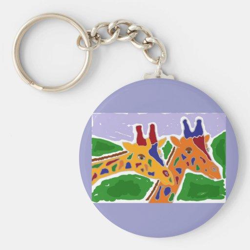 Diseño XY de la jirafa del arte popular Llaveros