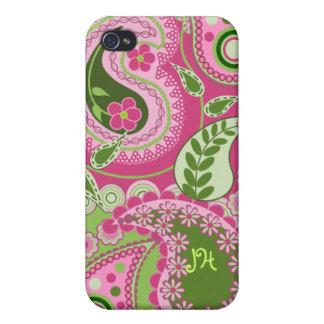 Diseño y monograma rosados/verdes de Paisley iPhone 4 Funda