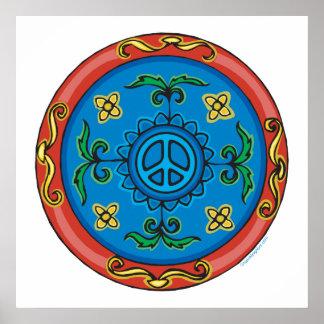 Diseño y signo de la paz coloridos del medallón posters