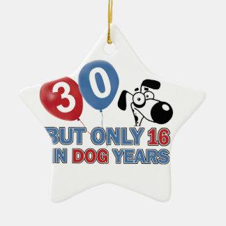 diseños 30 años de los años del perro adorno de navidad