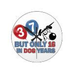 diseños 37 años de los años del perro relojes de pared