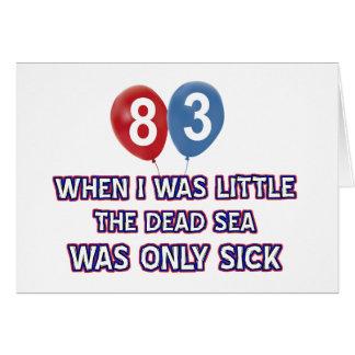 diseños 83 años del cumpleaños del mar muerto tarjeta de felicitación