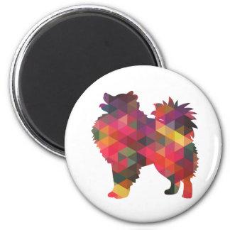 Diseños americanos de la silueta del perro imán redondo 5 cm