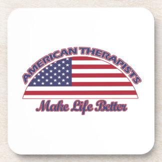 diseños americanos de los terapeutas posavasos de bebida