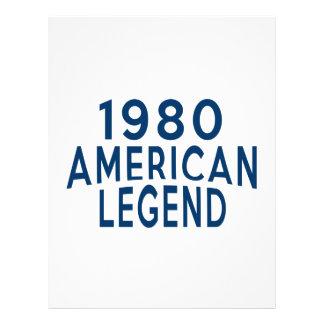 Diseños an o 80 del cumpleaños de la leyenda del membretes personalizados