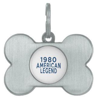 Diseños an o 80 del cumpleaños de la leyenda del placas de mascota