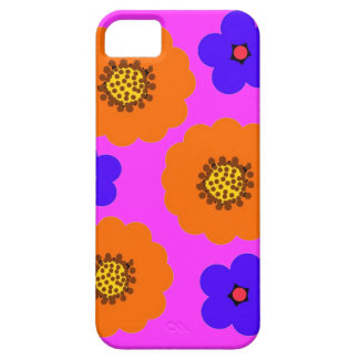 Diseños anaranjados azules florales del caso del i iPhone 5 protectores
