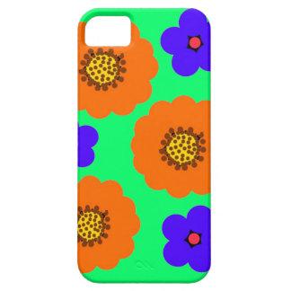 Diseños anaranjados azules florales del caso del i iPhone 5 cárcasa
