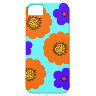 Diseños anaranjados azules florales del caso del i iPhone 5 Case-Mate cárcasa
