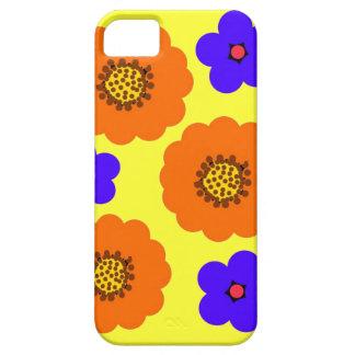 Diseños anaranjados azules florales del caso del i iPhone 5 cárcasas