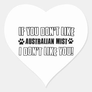 diseños australianos del gato de la niebla pegatina en forma de corazón