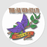 Diseños azules del estado del pájaro de Nevada Etiqueta Redonda