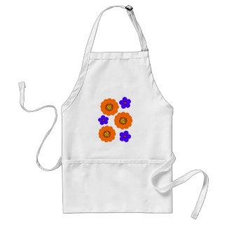 Diseños azules florales del naranja delantal