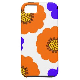 Diseños azules florales del naranja iPhone 5 funda