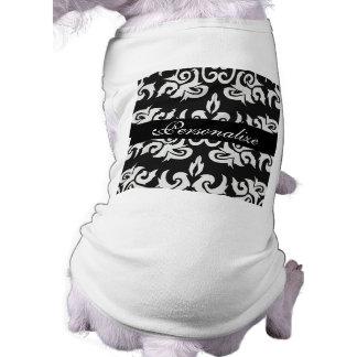 Diseños blancos y negros del damasco del vintage prenda mascota