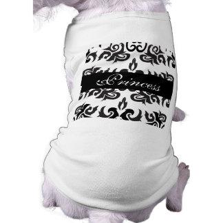 Diseños blancos y negros del damasco del vintage camiseta de mascota