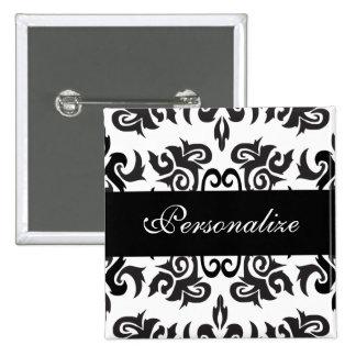 Diseños blancos y negros del damasco del vintage pin