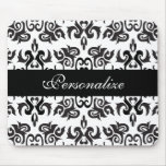 Diseños blancos y negros del damasco del vintage tapete de ratones