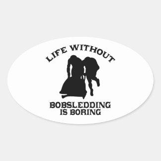 DISEÑOS Bobsledding Pegatina Ovalada