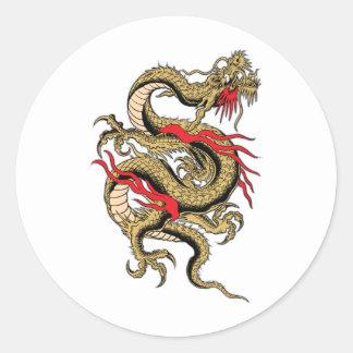 Diseños chinos del personalizable del dragón etiquetas redondas