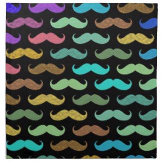 Diseños coloridos de los bigotes en fondo negro servilleta de papel