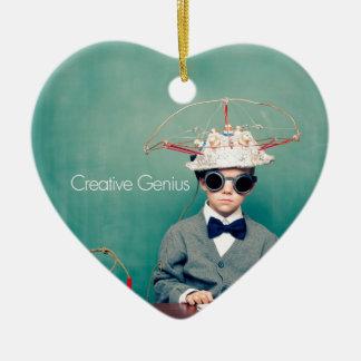 Diseños creativos del genio adorno navideño de cerámica en forma de corazón