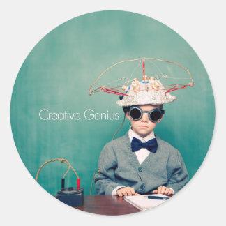 Diseños creativos del genio etiquetas redondas