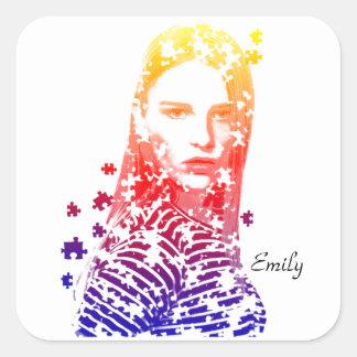 Diseños creativos personalizados del retrato de la pegatina cuadrada