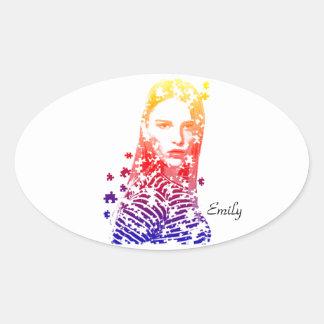 Diseños creativos personalizados del retrato de la pegatina ovalada