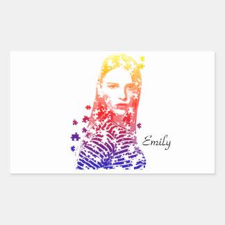 Diseños creativos personalizados del retrato de la pegatina rectangular