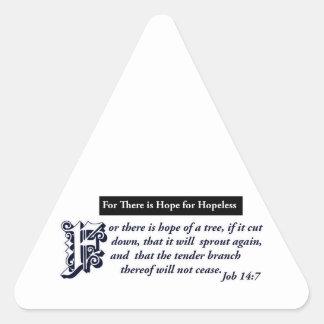 diseños cristianos de la esperanza pegatina triangular