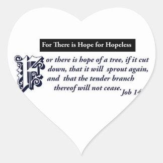 diseños cristianos de la esperanza pegatina en forma de corazón