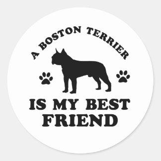Diseños de Boston Terrier Pegatina Redonda